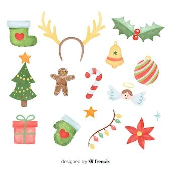 Mooie set elementen van aquarel kerst