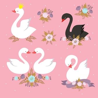 Mooie set karakters van witte prinses zwaan met kroon.