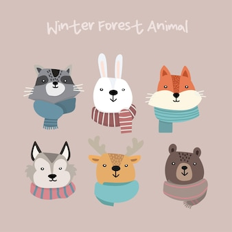 Mooie set kawaii winter animal