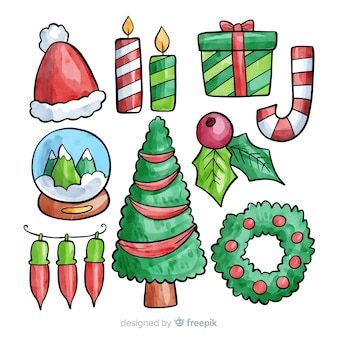 Mooie set van aquarel kerst elementen