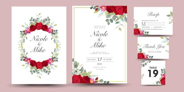 Mooie set van decoratieve wenskaart of uitnodiging met bloemmotief