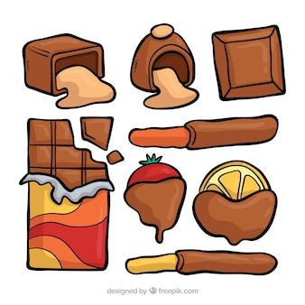 Mooie set van hand getrokken chocolade
