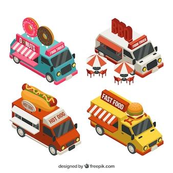 Mooie set van isometrische voedselwagens