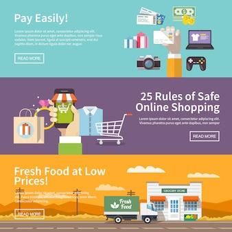 Mooie set van kleurrijke platte banners met als thema: online winkelen, betalen, bezorgen van de goederen. alle items zijn met liefde gemaakt, speciaal voor uw geweldige projecten.