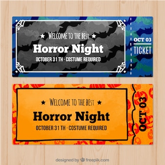 Mooie set van moderne halloween tickets