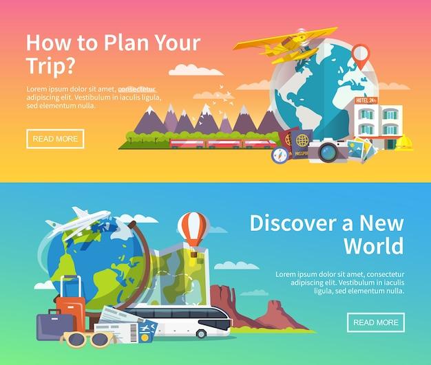 Mooie set van platte banners op het thema zomer reizen