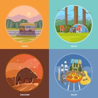 Mooie set van platte banners rond het thema kamperen