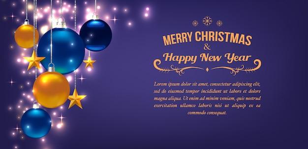 Mooie sjabloon voor kerstmis of nieuwjaarskaart, flyer, poster, uitnodiging, banner. promotie of winkelen sjabloon. met ballen, sterren en copyspace. paars