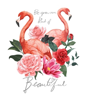 Mooie slogan met flamingo's en bloemenillustratie