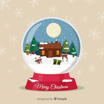 Mooie sneeuwbalbol met kerstmisconcept