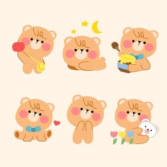Mooie speelse teddybeer eenvoudige mascotte illustratie asset-collectie