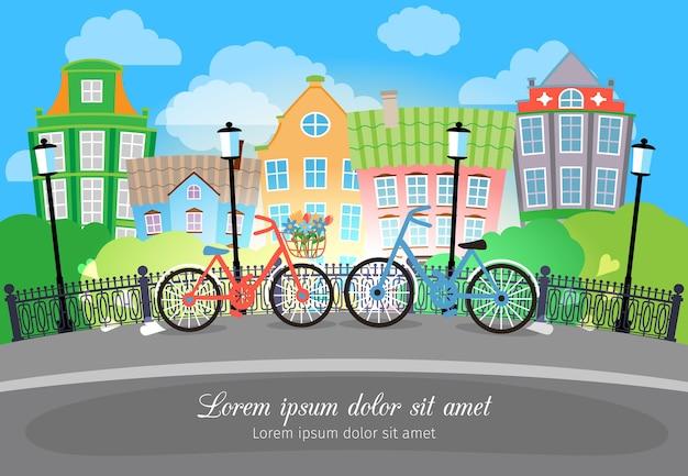 Mooie stadsbrugstraat met fietsen en lichten. ontworpen met gekleurde gebouwen op achtergrond.
