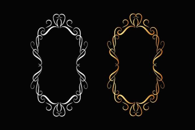 Mooie stijlvolle cirkel gouden bloemen frame ontwerp op zwarte achtergrond
