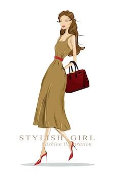 Mooie stijlvolle tekeningsvrouw met tas. gedetailleerde modieuze look. illustratie.