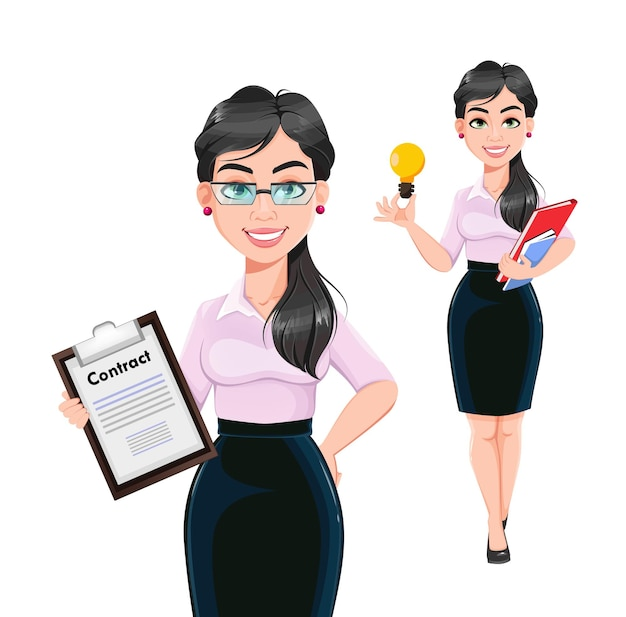Mooie succesvolle zakenvrouw stripfiguur, set van twee poses