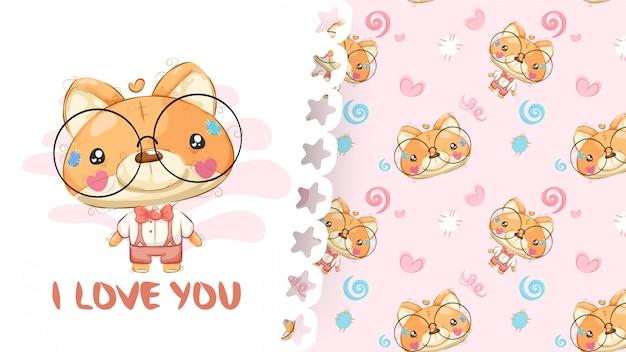 Mooie tekening van teddy vos met patroonachtergrond