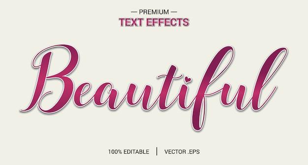 Mooie teksteffectvectoren, set elegant roze paars abstract mooi teksteffect