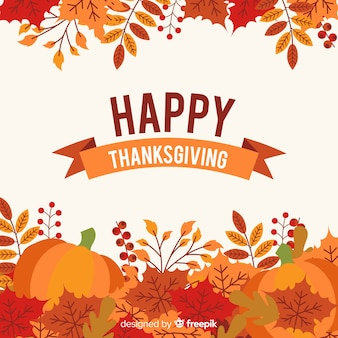 Mooie thanksgiving achtergrond met platte ontwerp