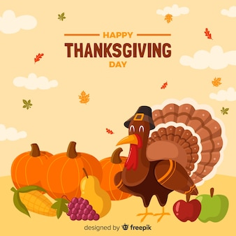 Mooie thanksgiving dayachtergrond met vlak ontwerp