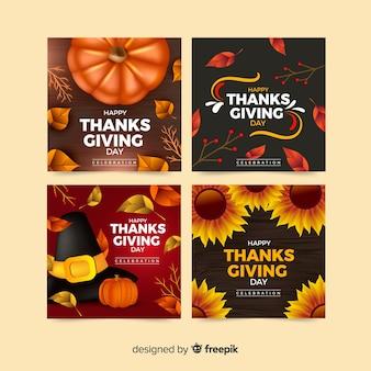 Mooie thanksgiving-kaartcollectie met realistisch ontwerp