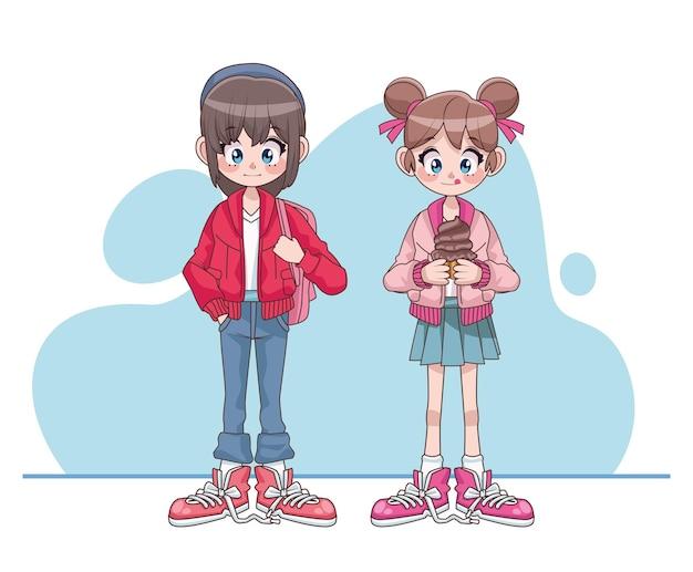 Mooie tieners meisjes koppelen anime karakters illustratie
