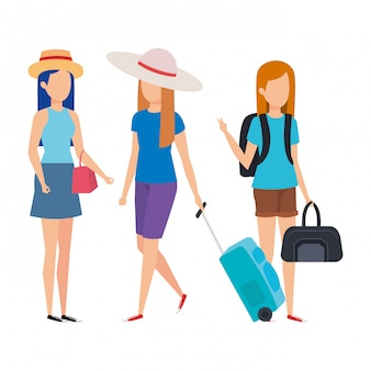 Mooie toeristenmeisjes met kofferskarakters