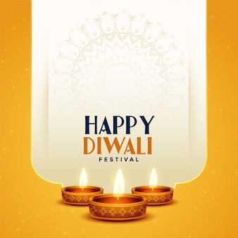 Mooie traditionele gelukkige diwali-achtergrond met diya-ontwerp