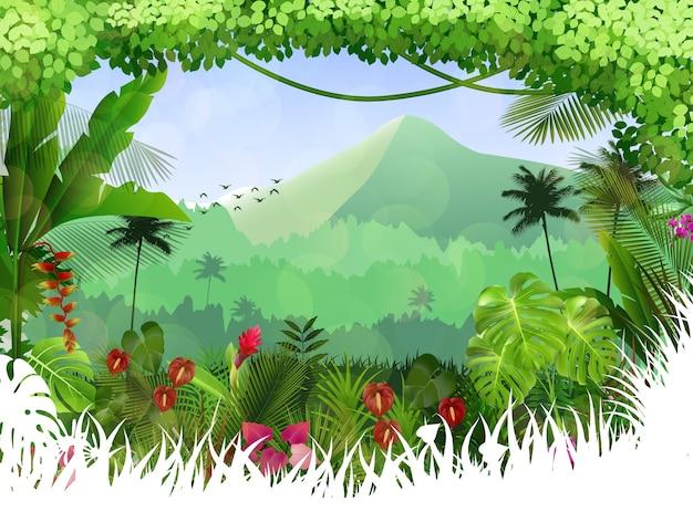 Mooie tropisch in de berg met een boom en bloemen