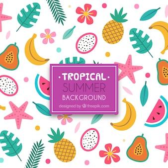 Mooie tropische achtergrond met platte ontwerp