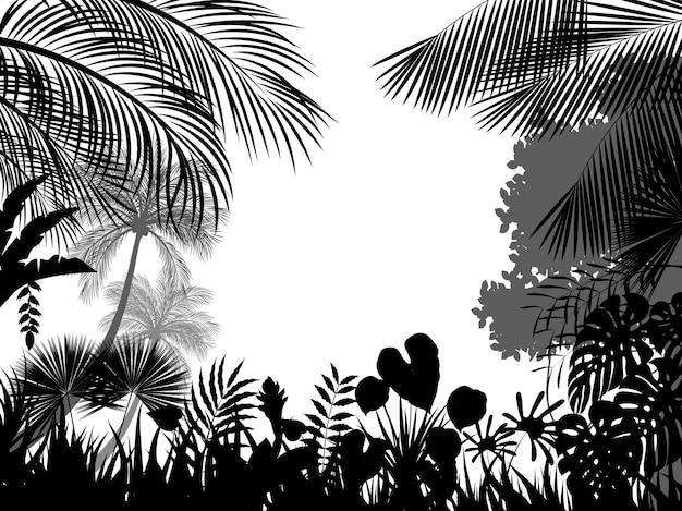 Mooie tropische silhouetachtergrond