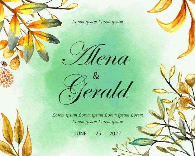 Mooie trouwkaart aquarel bruine bladeren