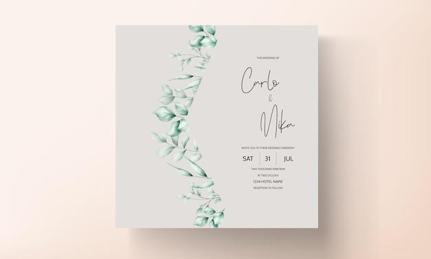 Mooie trouwkaart met bladdecoratie
