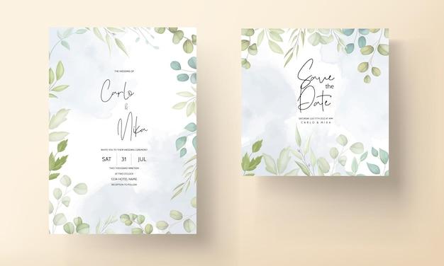 Mooie trouwkaart met decoratief bladontwerp