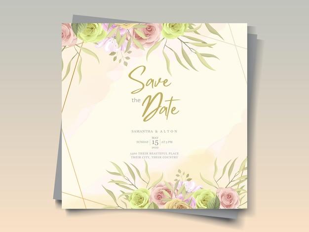 Mooie trouwkaart met florale decoraties