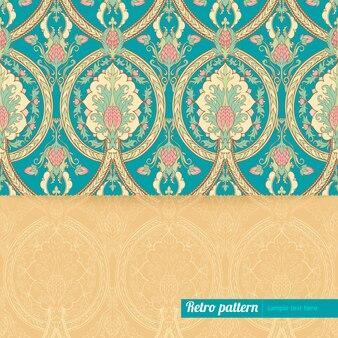 Mooie turkoois oranje achtergrond met retro patroon met ananas en plaats voor tekst