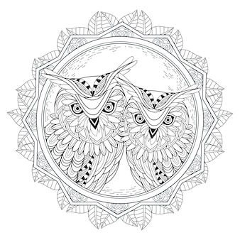 Mooie uilenpaar kleurplaat in prachtige stijl