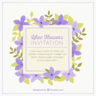 Mooie uitnodiging met lila bloemen
