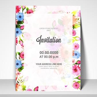 Mooie uitnodigingskaart met kleurrijke bloemen.
