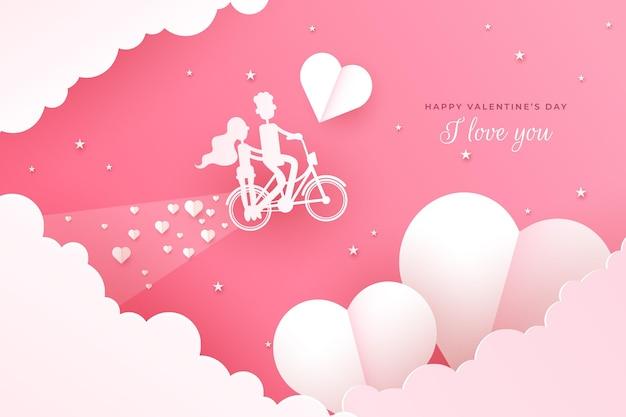 Mooie valentijnsdag achtergrond in papieren stijl
