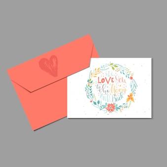 Mooie valentijnsdag cadeaubon met envelop hart en belettering hou van je tot de maan. kalligrafie, handgetekende ontwerpelementen om af te drukken, poster, uitnodiging, feestdecoratie. vector.