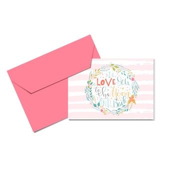 Mooie valentijnsdag cadeaubon met krans hart en belettering hou van je tot de maan. kalligrafie, handgetekende ontwerpelementen om af te drukken, poster, uitnodiging, feestdecoratie. vector.