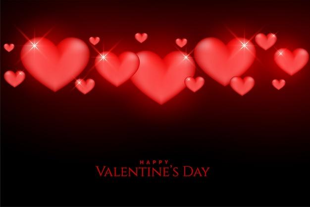 Mooie valentijnsdag gloeiende rode harten op achtergrond
