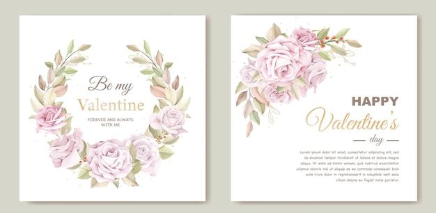 Mooie valentijnsdag kaartsjabloon met bloemen krans