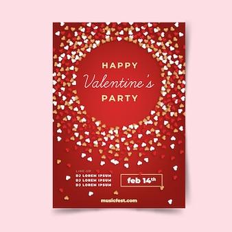 Mooie valentijnsdag partij flyer / poster sjabloon