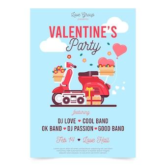 Mooie valentijnsdag partij poster sjabloon