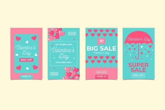 Mooie valentijnsdag verkoop verhaal set