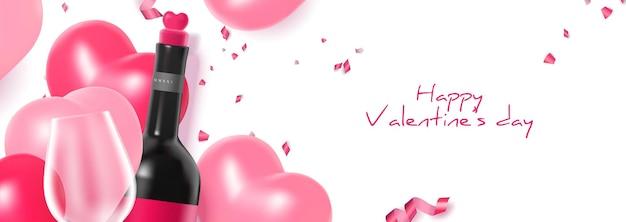 Mooie valentijnsdag viering illustratie banner met realistische wijnfles en glas
