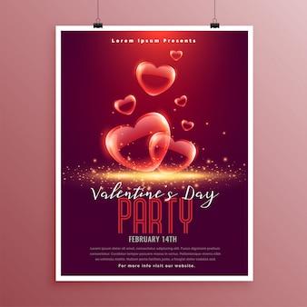 Mooie valentijnsdag zeepbel harten flyer sjabloon