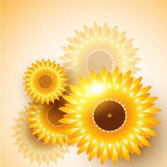 Mooie vector zonnebloem achtergrond ontwerp