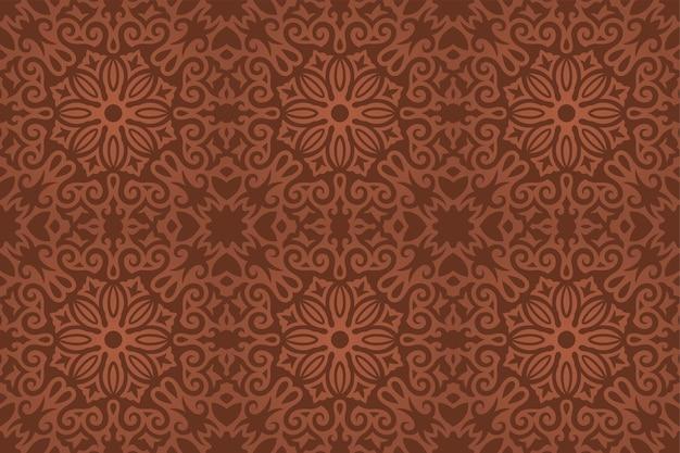 Mooie vectorachtergrond met kleurrijk bruin bloemen uitstekend naadloos patroon
